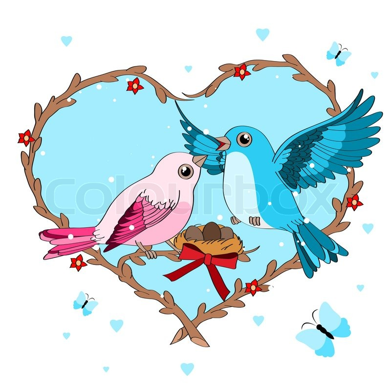 800x800 Illustration Of Love Birds Perched On A Branch Of A Tree. Vector