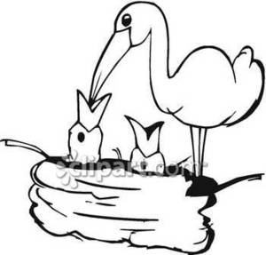 300x287 Bird Feeding Its Babies In A Nest Royalty Free Clipart Picture