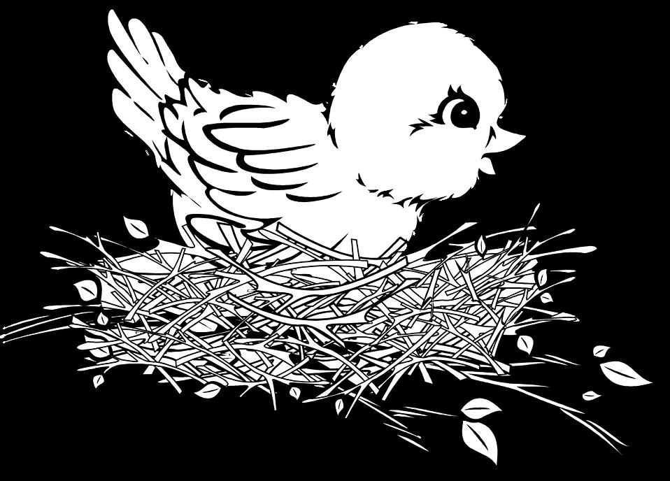 958x688 Bird Nest Black And White Clipart