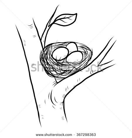 450x470 Bird's Nest Clipart Sketch