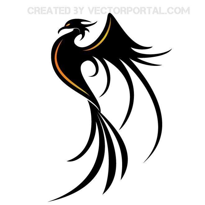 660x660 Phoenix Bird Vector Clip Art.eps, Vector Graphics