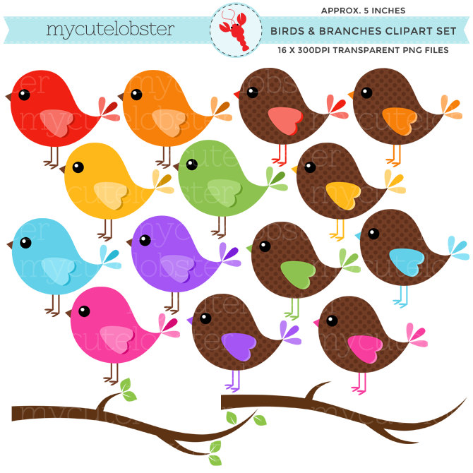670x670 Birds Clipart Set Clip Art Set Of Rainbow Birds Branches