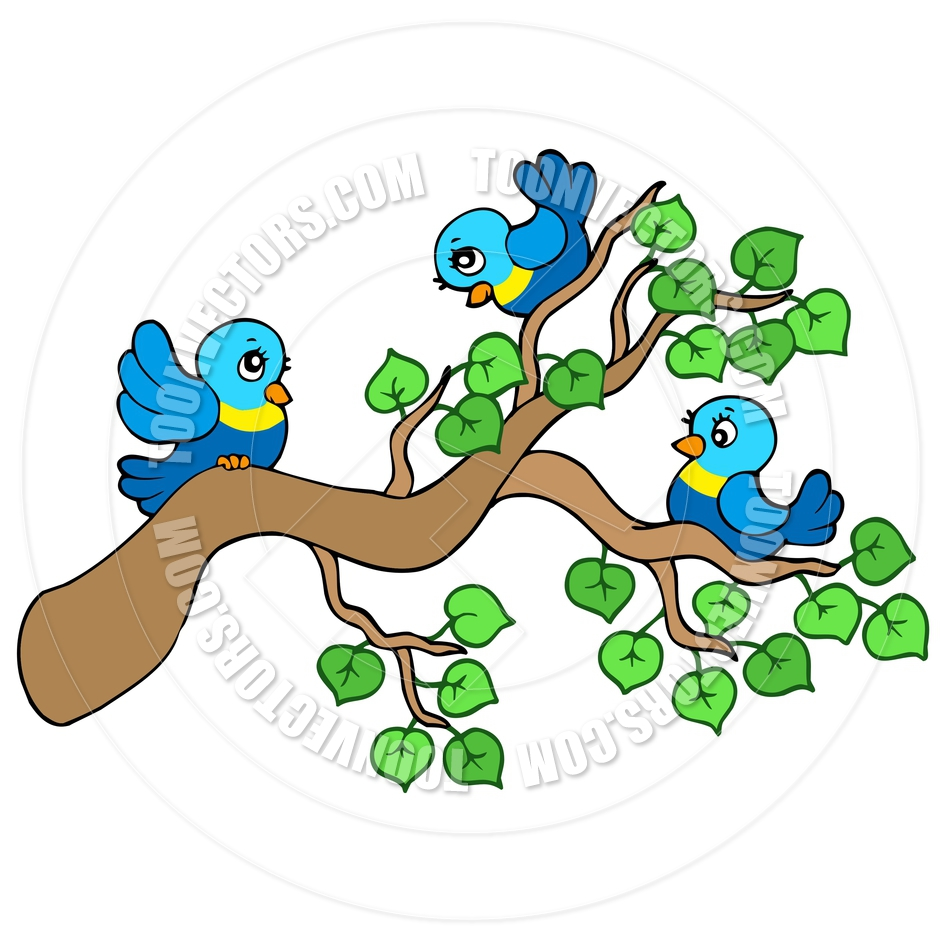 940x940 Cartoon Three Small Birds Sitting On Branch By Clairev Toon