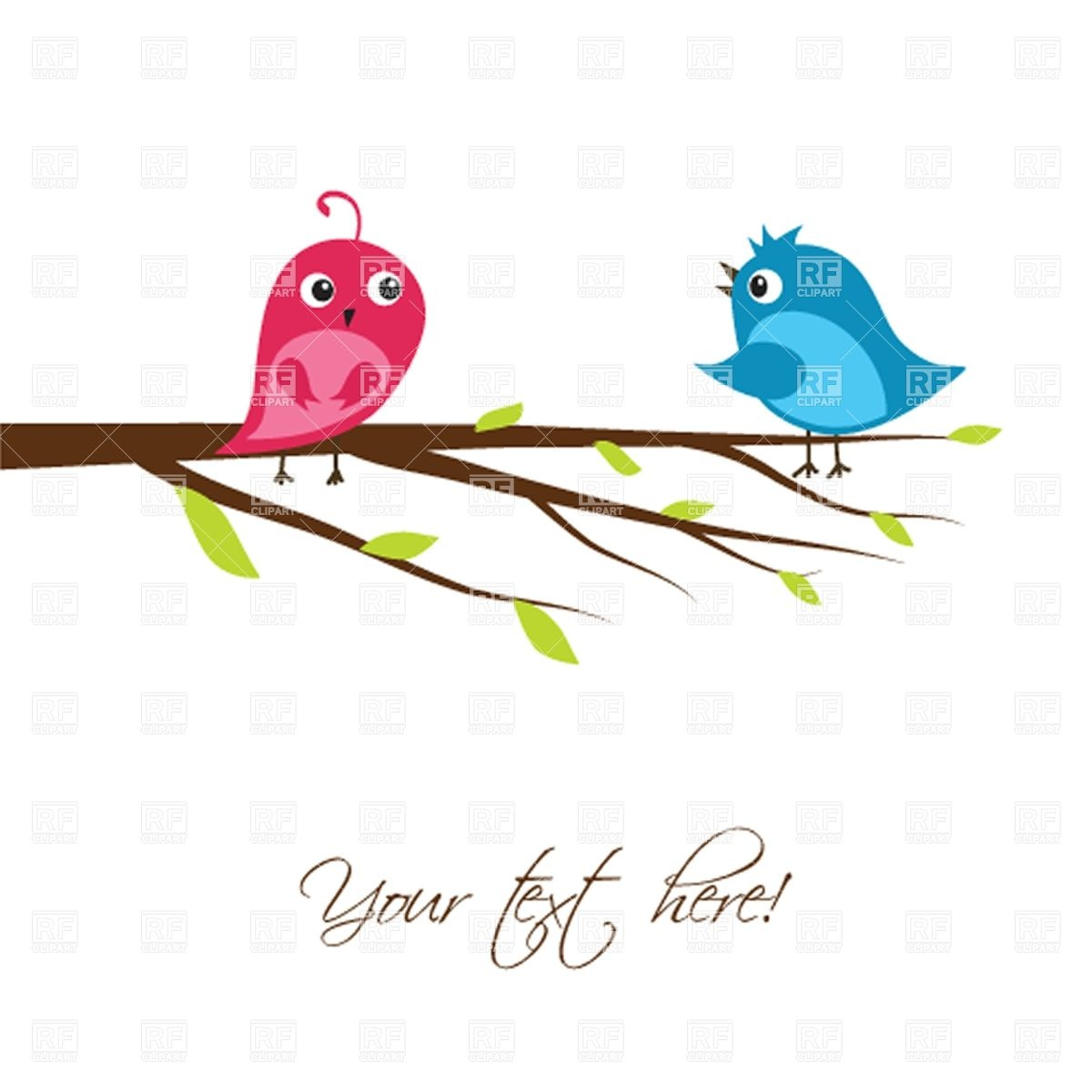 1200x1200 Couple Of Cute Birds On The Tree Branch Royalty Free Vector Clip
