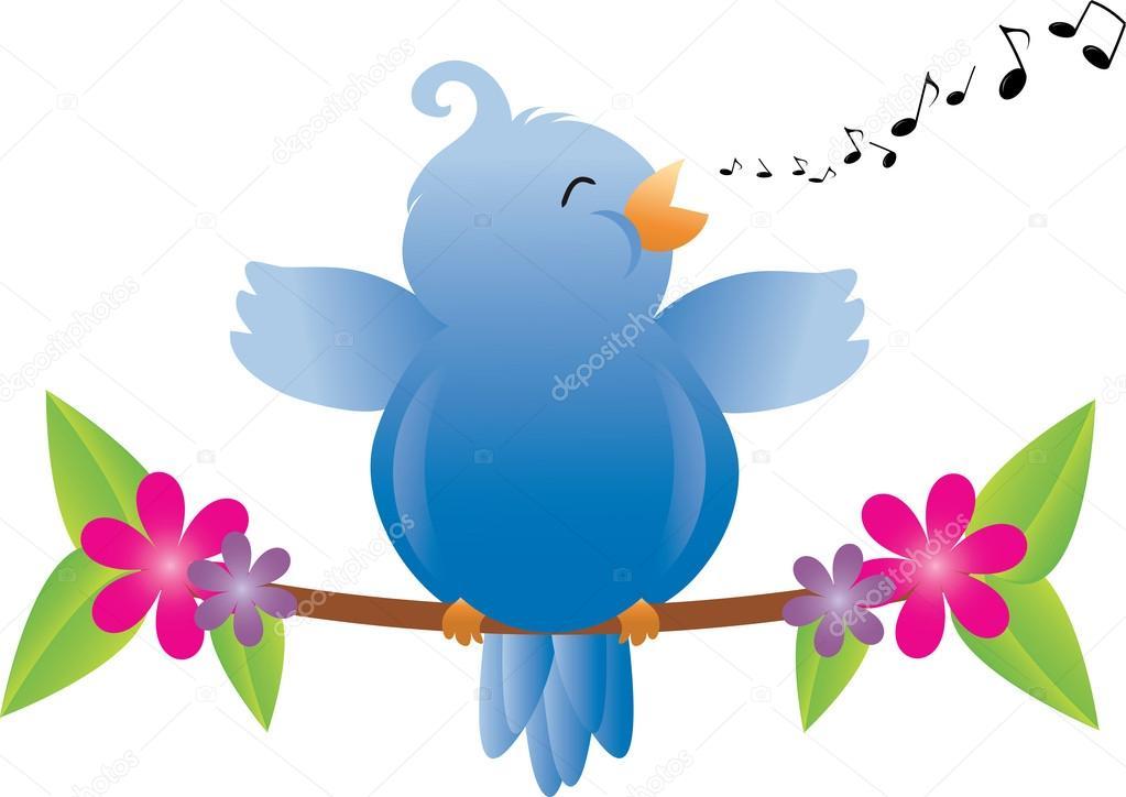 1023x724 Clip Art Illustration Of A Fat Little Bird Singing On A Tree Bra