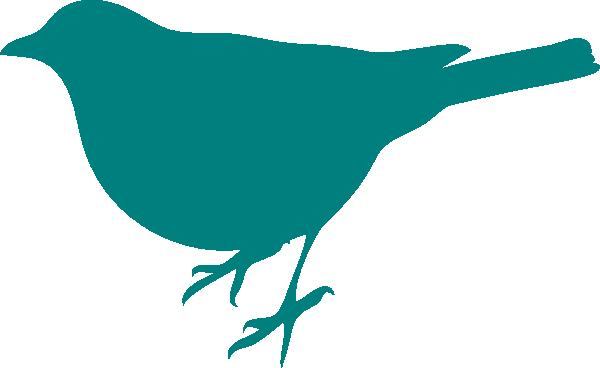 600x368 Teal Bird Silhouette Clip Art