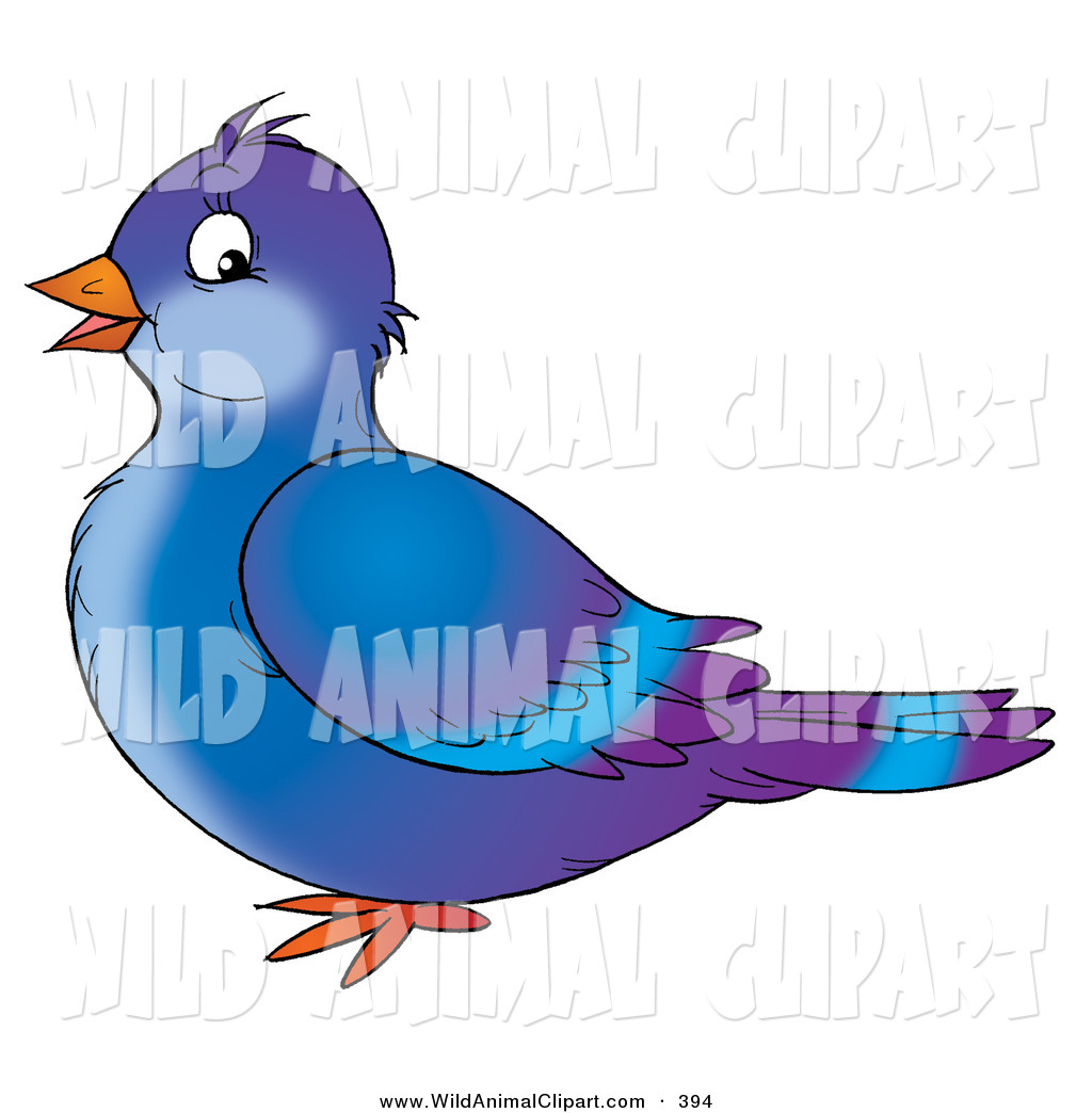 1024x1044 Clip Art Of A Cute Blue And Purple Singing Pigeon Bird In Profile