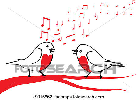 450x327 Clipart Of Birds Singing On The Tree Branch K9016562