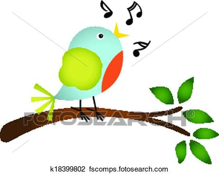 450x358 Clipart Of Little Bird Singing On A Tree K18399802