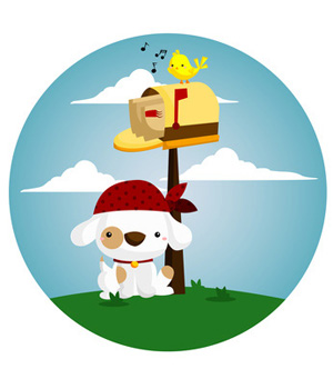 300x350 Dog, Singing Bird By Mailbox