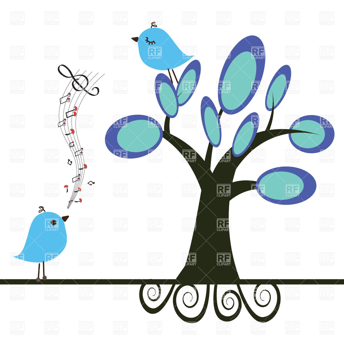 1200x1200 Singing Bird And Blue Bird On Tree Royalty Free Vector Clip Art