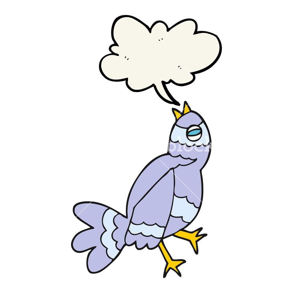 1000x1000 Freehand Drawn Cartoon Bird Singing Royalty Free Stock Image