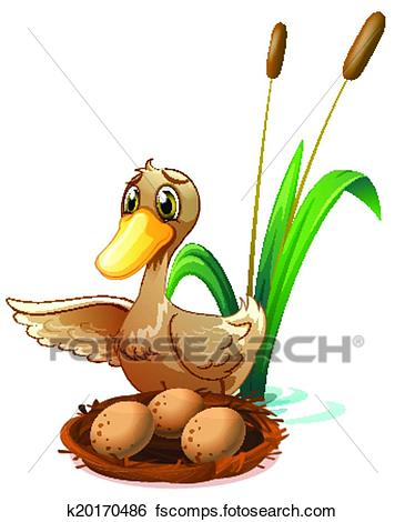 365x470 Clip Art Of A Duck Watching The Eggs