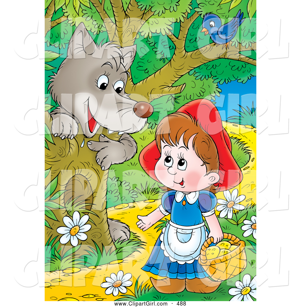 1024x1044 Clip Art Of A Gray Wolf Emerging Behind A Tree Under A Bird