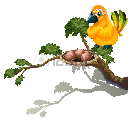 450x408 Illustration Of A Bird Watching The Nest On A White Background