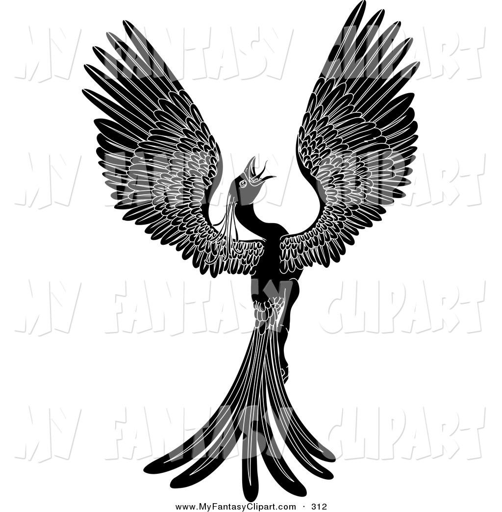 1024x1044 Clip Art Of A Majestic Black Phoenix Fantasy Bird Opening Its