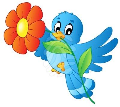 400x357 Bird And Flower Clip Art