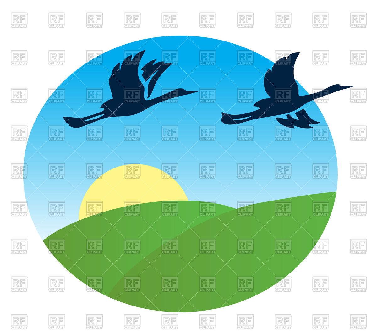 1200x1053 Flying Birds And Green Fields In Round Frame Royalty Free Vector
