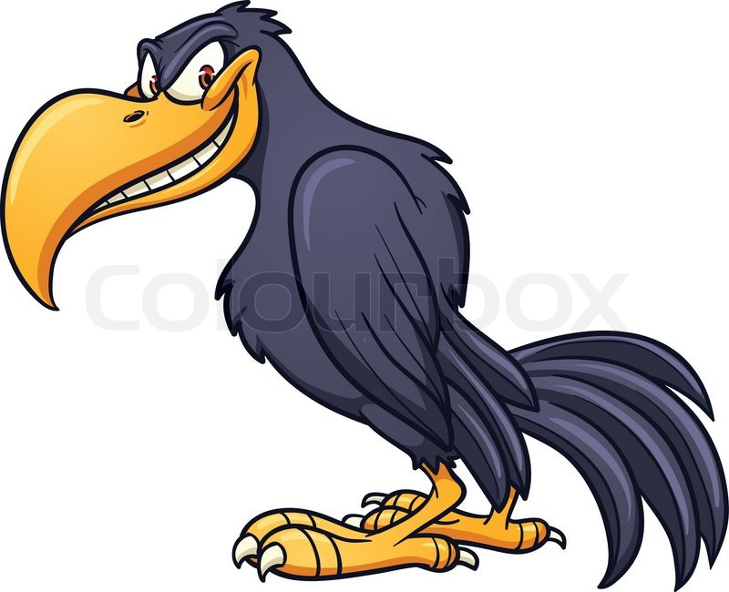 800x650 Evil Cartoon Crow. Vector Clip Art Illustration With Simple