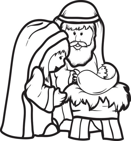 512x550 Free Printable Mary, Joseph, Amp Baby Jesus Coloring Page For Kids
