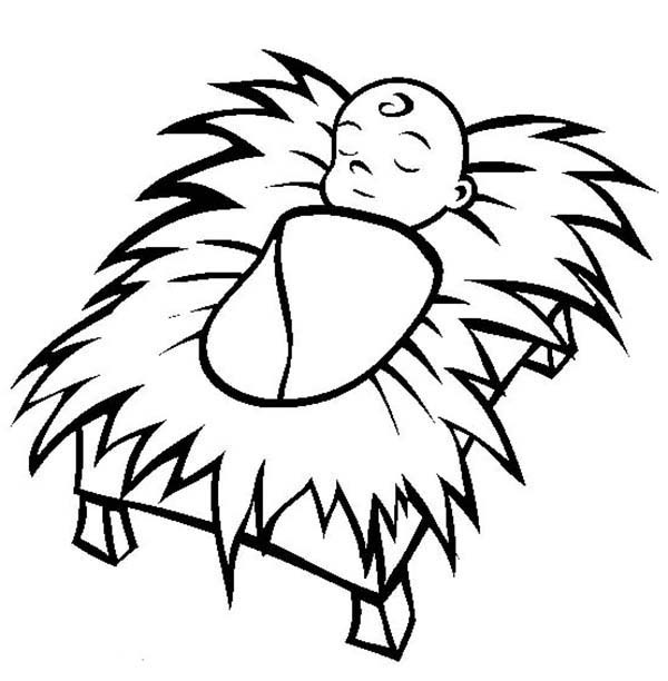 600x612 Marvelous! Baby Jesus Coloring Pages