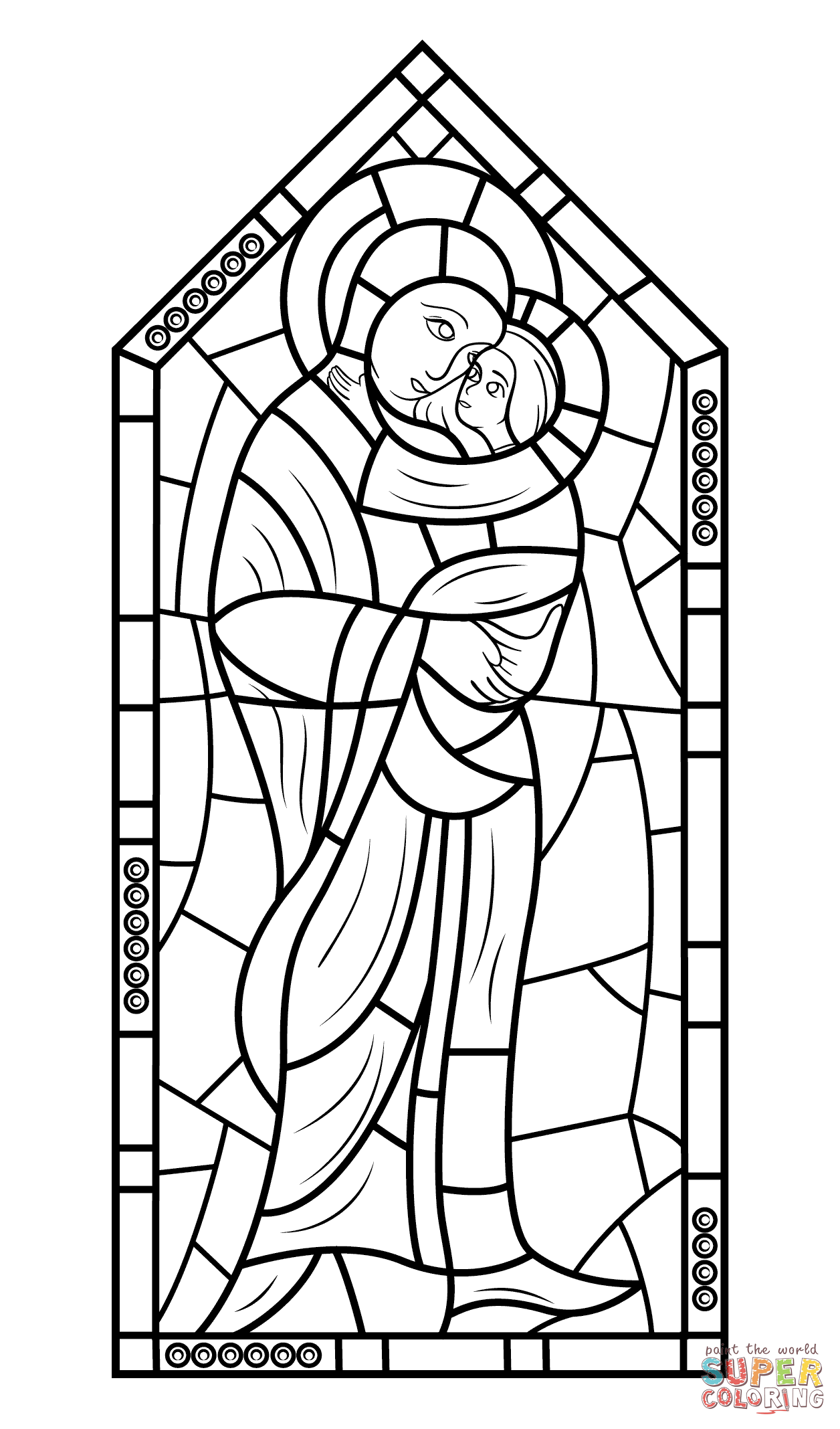 1256x2136 Mother Mary With Jesus Stained Glass Coloring Page Free