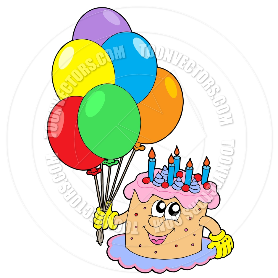 940x940 Cartoon Birthday Cake with Balloons by clairev Toon Vectors EPS