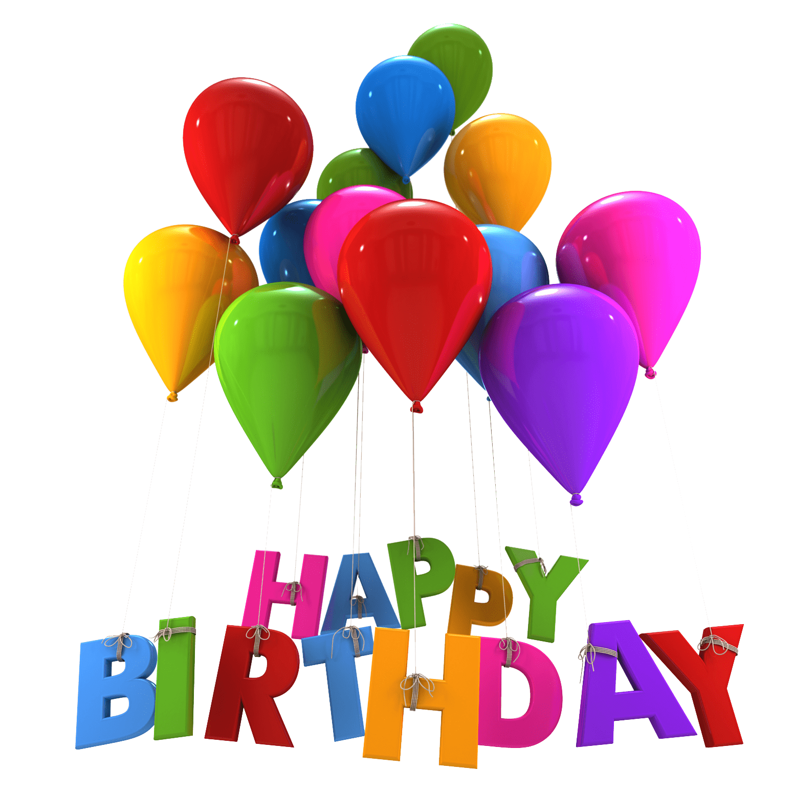 1550x1550 Happy Birthday Balloons Hanging Letters transparent PNG