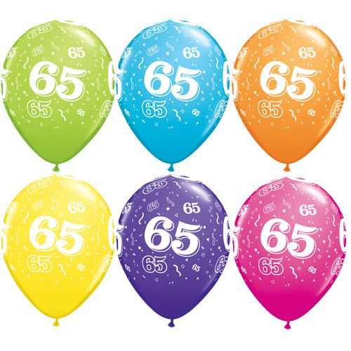 500x500 Mixed Colours 65th Birthday Balloons