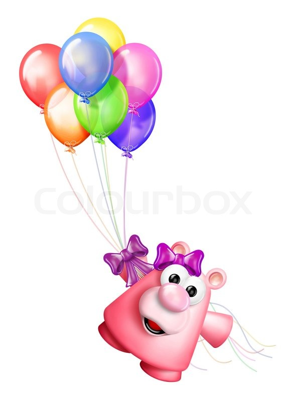 584x800 Whimsical Teddy bear and Birthday Balloons Stock Photo Colourbox