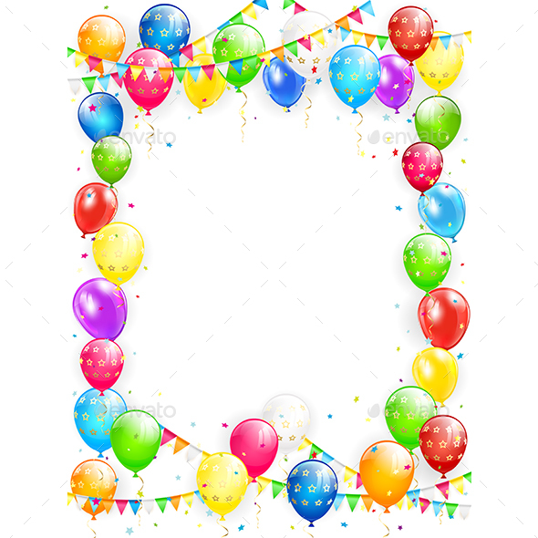 590x590 Birthday Balloons And Confetti On White Background By Losw