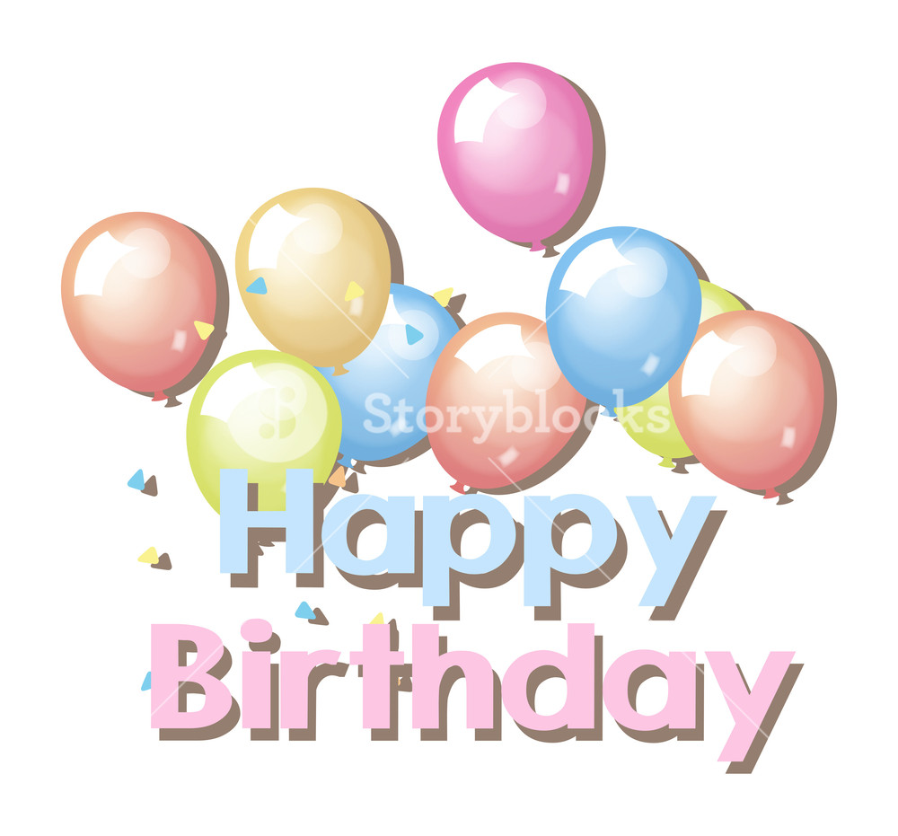 1000x931 Vintage Birthday Balloons Background Royalty Free Stock Image