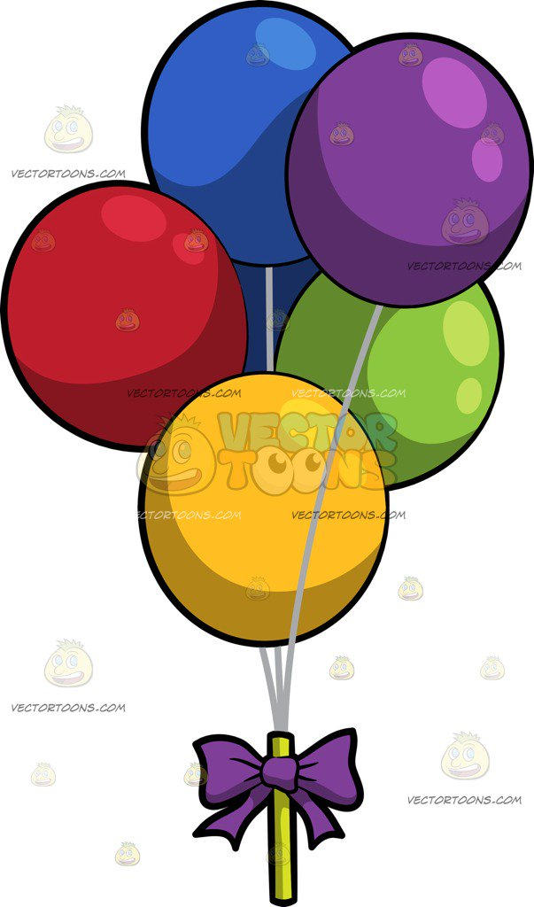 603x1024 A Bunch Of Birthday Balloons Cartoon Clipart
