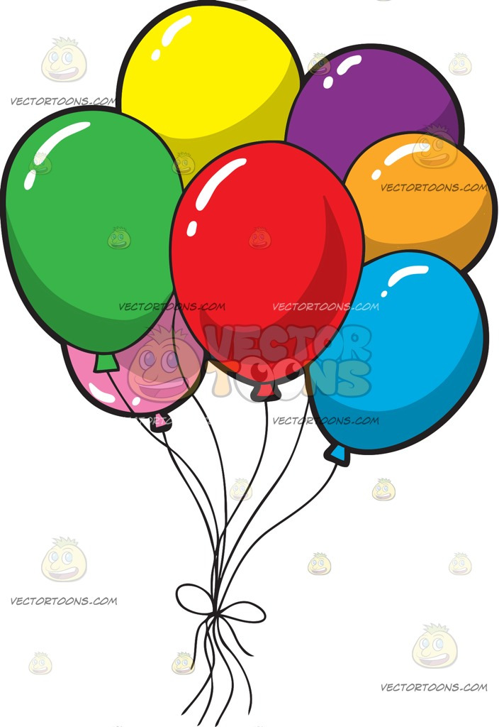704x1024 A Bunch Of Colorful Birthday Balloons Cartoon Clipart