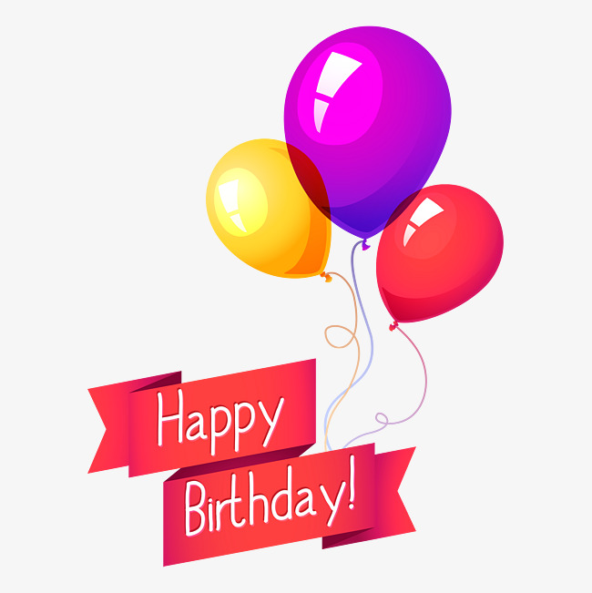 650x651 Happy Birthday Balloon Ribbon Vector, Ribbon, Ribbon, Balloon Png