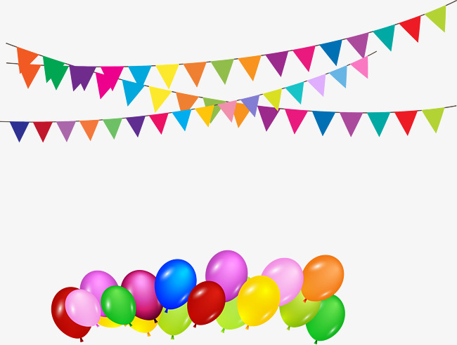650x492 Vector Bunting And Balloons Birthday Party Decoration, Bunting