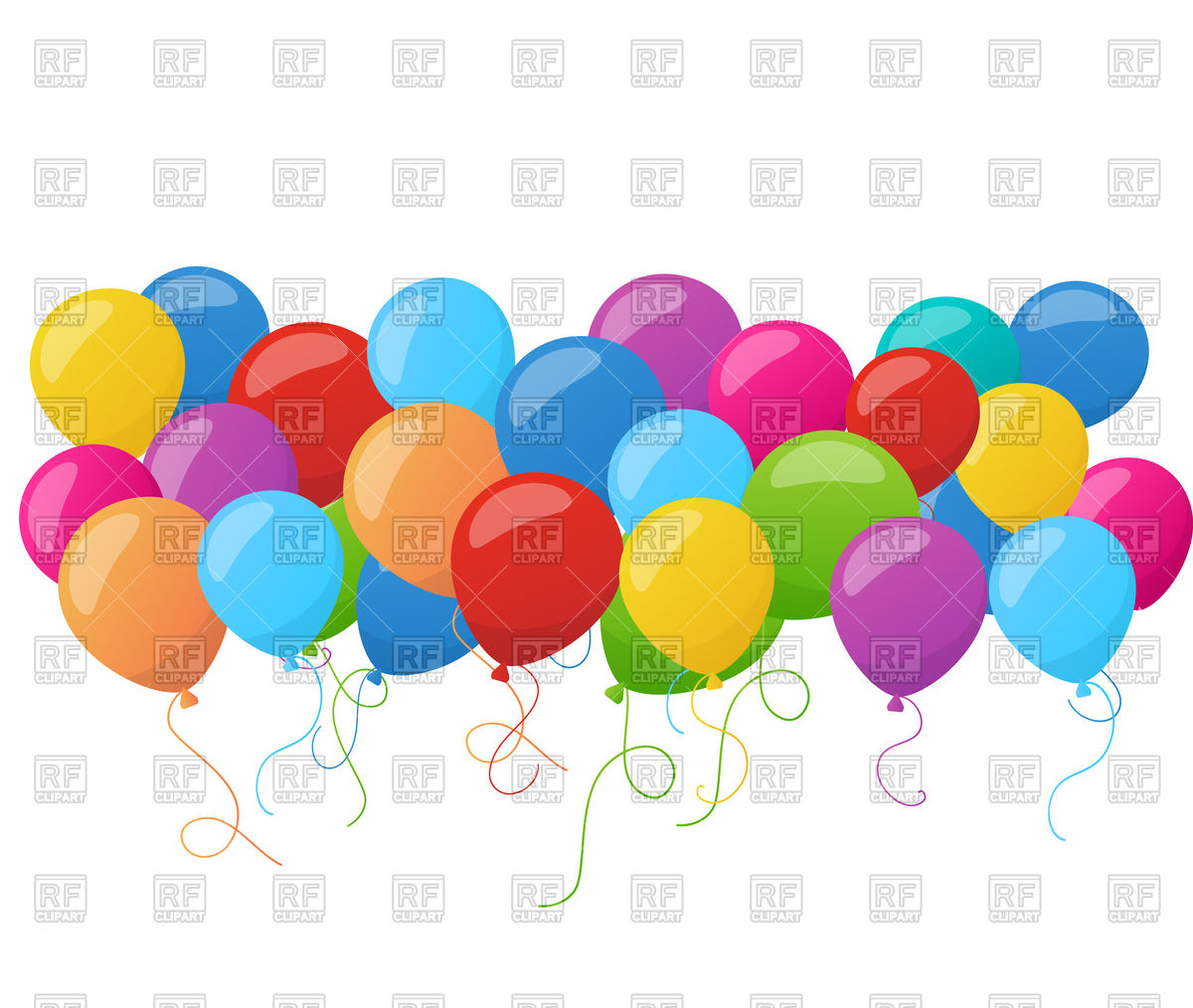 1200x1014 Birthday Banner With Colorful Balloons Royalty Free Vector Clip