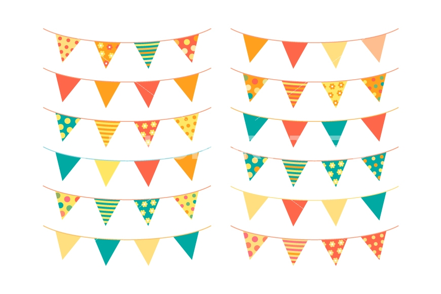 870x579 Cute Summer Bunting Clipart, Birthday Banner Flags, Party Pennant