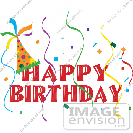 450x450 Clip Art Graphic Of A Happy Birthday Party Banner With A Hat