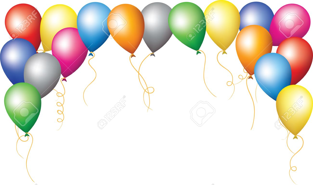 1300x771 Happy Birthday Holiday Border Of Colourfull Balloons Royalty Free