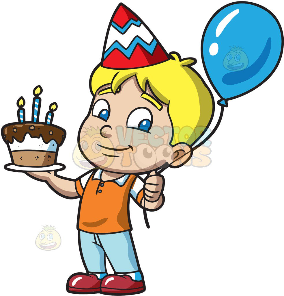 984x1024 The Birthday Boy With His Cake Cartoon Clipart