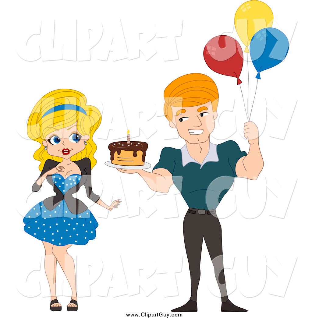 1024x1044 Clip Art of a White Pinup Man Holding a Birthday Cake and Balloons
