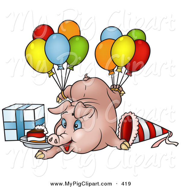 600x620 Swine Clipart of a Goofy Birthday Pig with Balloons, a Present and
