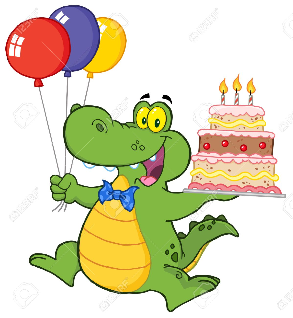 1198x1300 Birthday Alligator With Balloons And Cake Royalty Free Cliparts