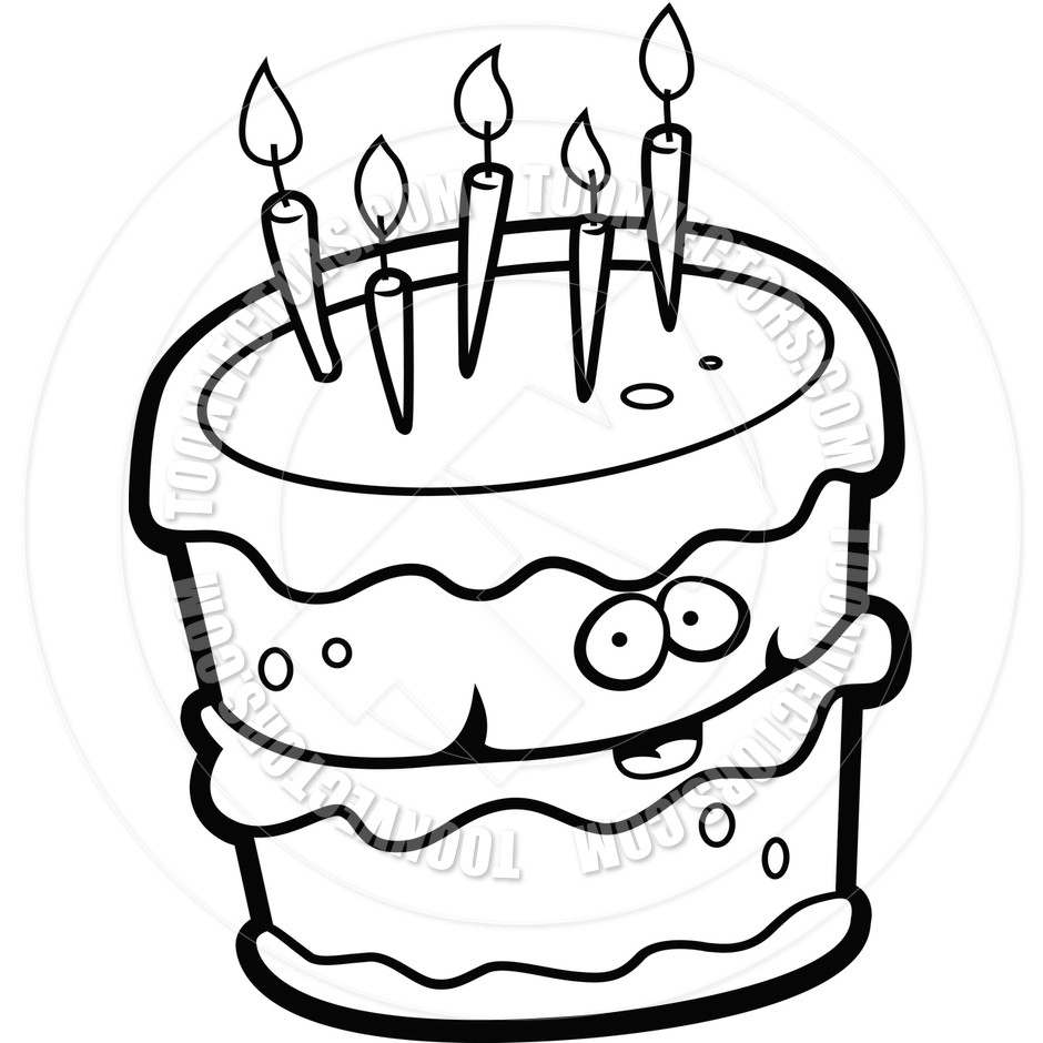 Birthday Cake Black And White Clipart