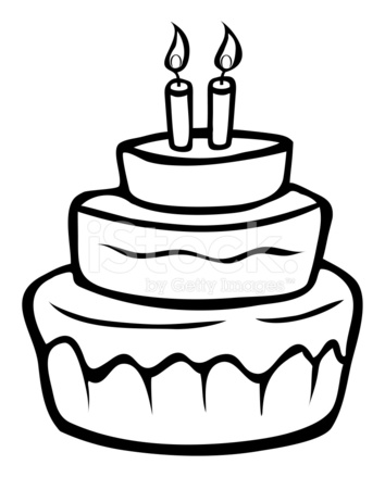 354x439 Birthday Cake Outline Stock Vector