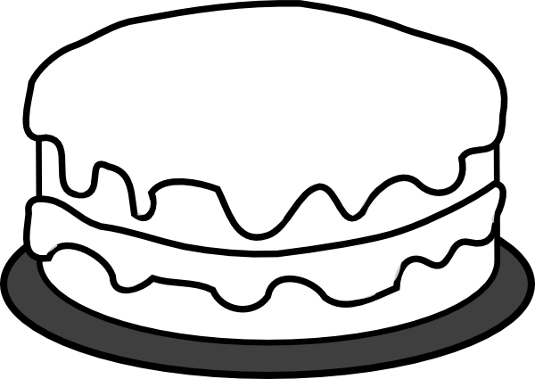 600x425 Birthday cake clipart black and white Nice clip art