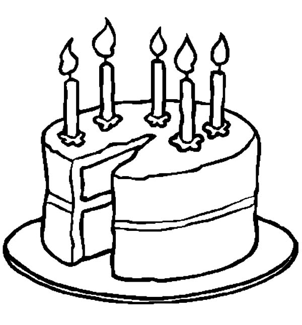 600x646 Fresh Design Birthday Cake Outline Black And White Printables