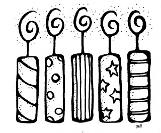 320x264 Happy birthday black and white birthday cake clip art free black