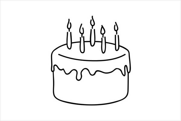 Birthday Cake Clipart Black And White